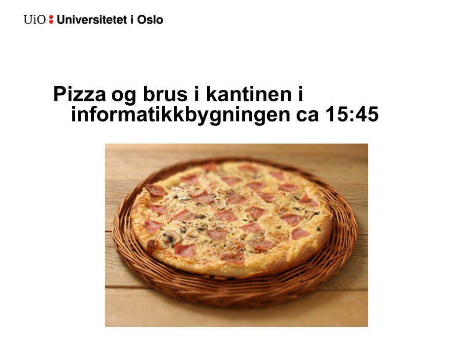Pizza og brus i kantinen i informatikkbygningen ca 15:45