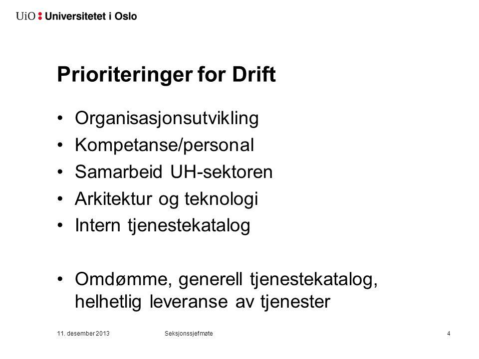 Prioriteringer for Drift Organisasjonsutvikling Kompetanse/personal Samarbeid UH-sektoren Arkitektur og teknologi Intern tjenestekatalog Omdømme, generell tjenestekatalog, helhetlig leveranse av tjenester 11.