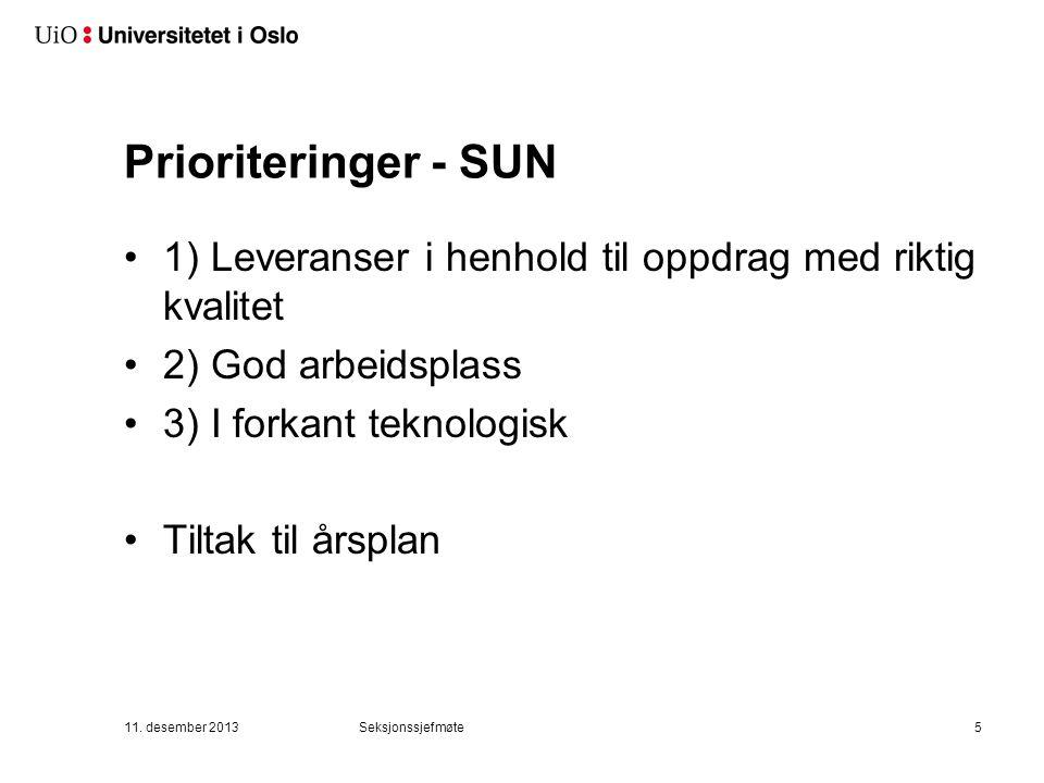 Prioriteringer - SUN 1) Leveranser i henhold til oppdrag med riktig kvalitet 2) God arbeidsplass 3) I forkant teknologisk Tiltak til årsplan 11.