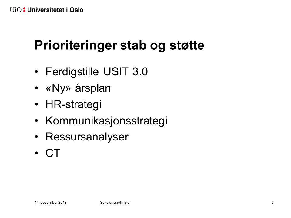 Prioriteringer stab og støtte Ferdigstille USIT 3.0 «Ny» årsplan HR-strategi Kommunikasjonsstrategi Ressursanalyser CT 11.
