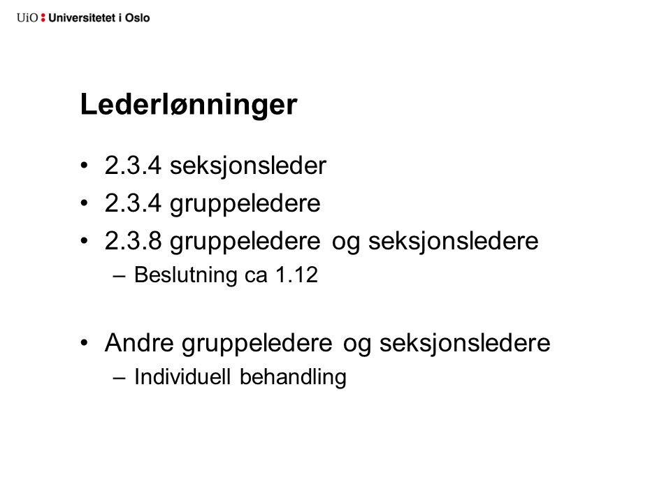 Lederlønninger 2.3.4 seksjonsleder 2.3.4 gruppeledere 2.3.8 gruppeledere og seksjonsledere –Beslutning ca 1.12 Andre gruppeledere og seksjonsledere –Individuell behandling