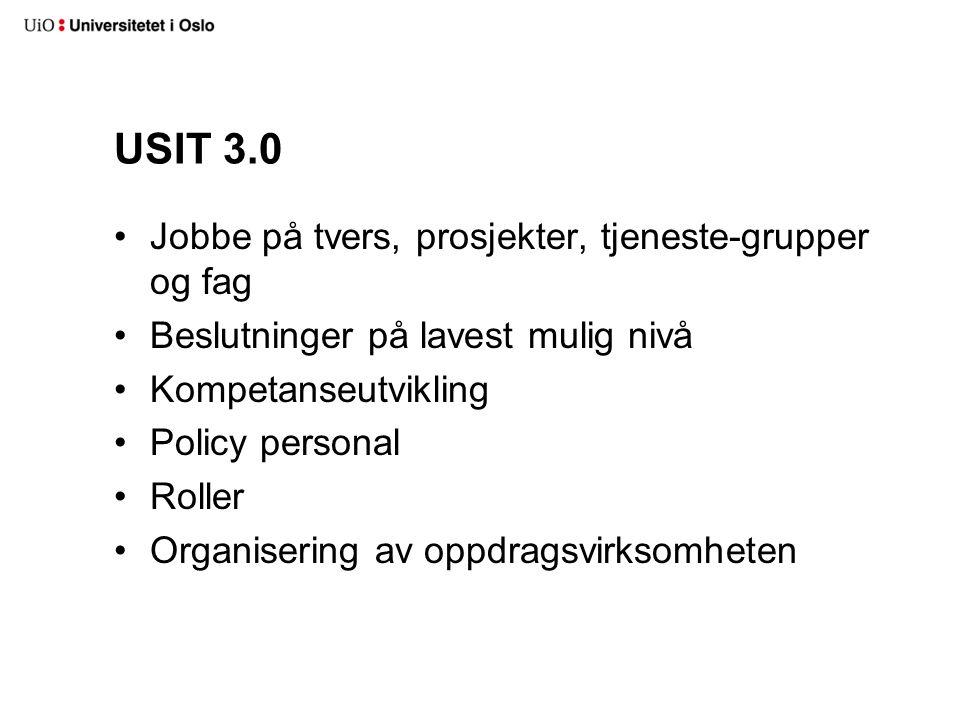 USIT 3.0 Jobbe på tvers, prosjekter, tjeneste-grupper og fag Beslutninger på lavest mulig nivå Kompetanseutvikling Policy personal Roller Organisering av oppdragsvirksomheten