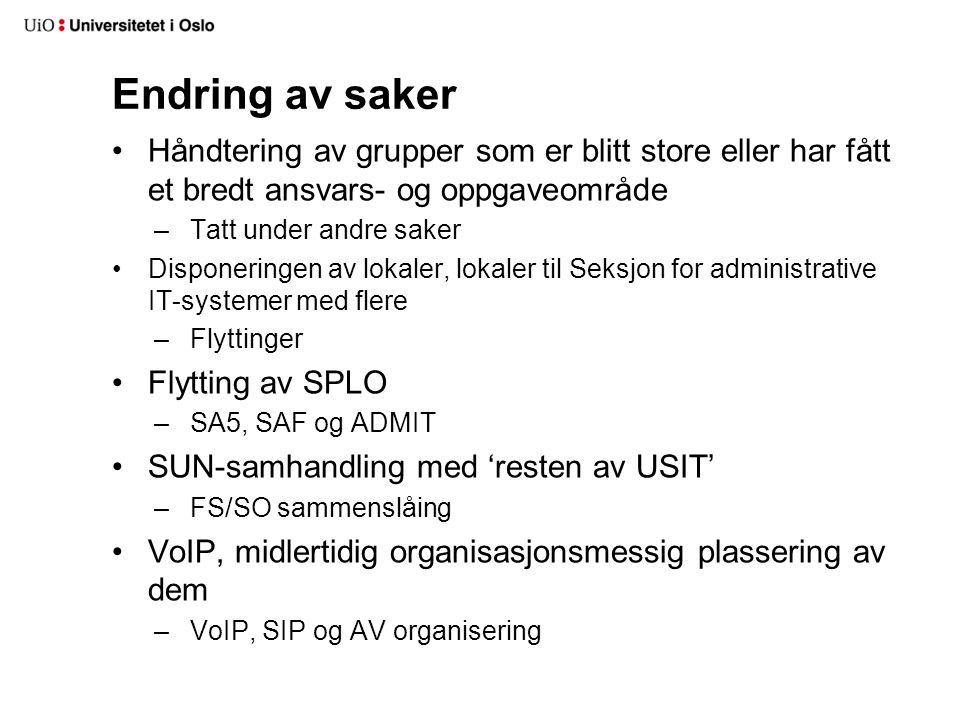 Endring av saker Håndtering av grupper som er blitt store eller har fått et bredt ansvars- og oppgaveområde –Tatt under andre saker Disponeringen av lokaler, lokaler til Seksjon for administrative IT-systemer med flere –Flyttinger Flytting av SPLO –SA5, SAF og ADMIT SUN-samhandling med 'resten av USIT' –FS/SO sammenslåing VoIP, midlertidig organisasjonsmessig plassering av dem –VoIP, SIP og AV organisering