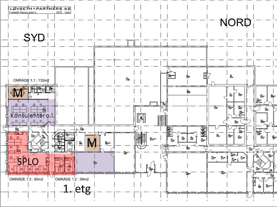 Fremdriftsplan Flytting i 3.etg, nord til syd. Admin, GAP, DBA.