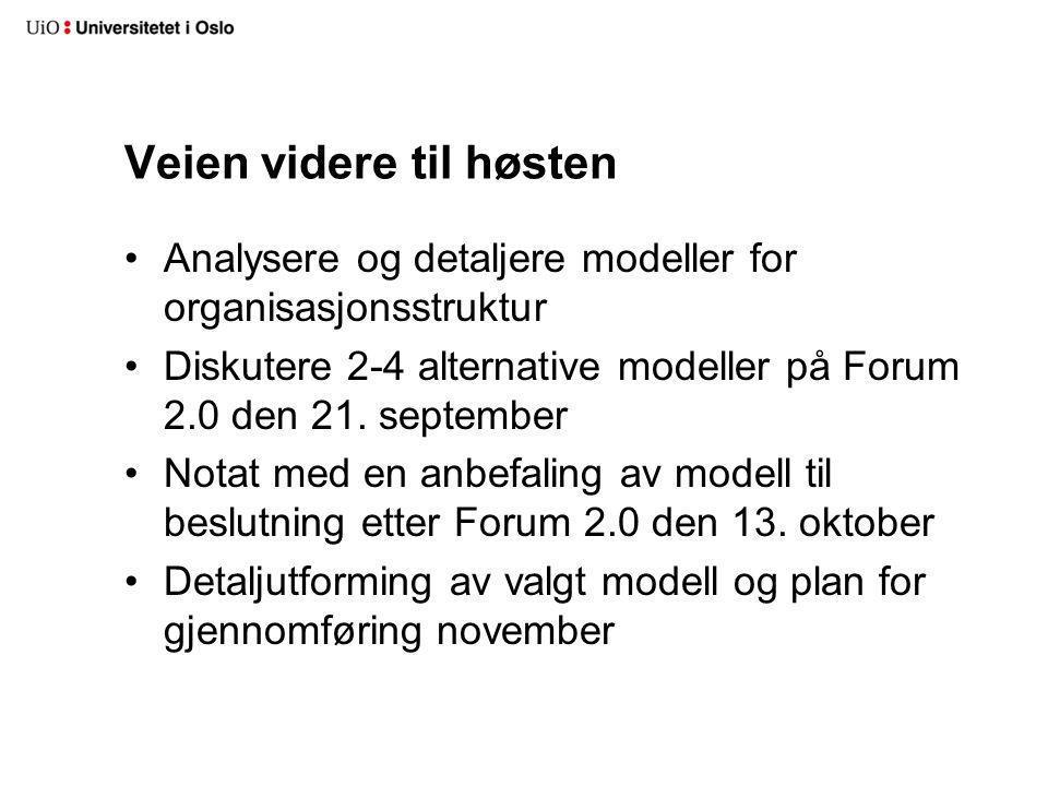 Veien videre til høsten Analysere og detaljere modeller for organisasjonsstruktur Diskutere 2-4 alternative modeller på Forum 2.0 den 21. september No
