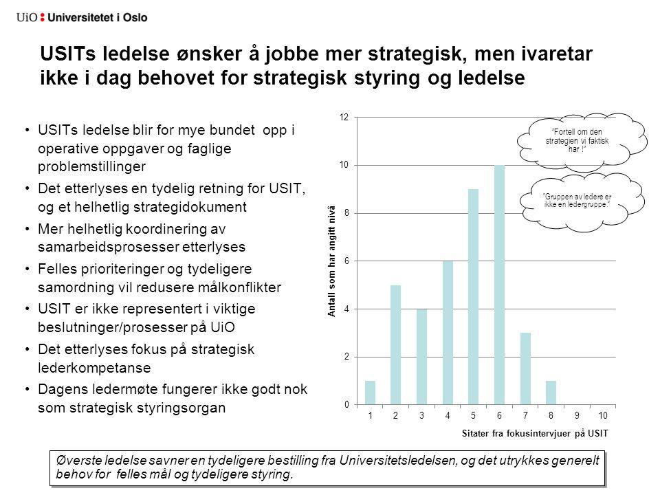 USITs ledelse ønsker å jobbe mer strategisk, men ivaretar ikke i dag behovet for strategisk styring og ledelse USITs ledelse blir for mye bundet opp i