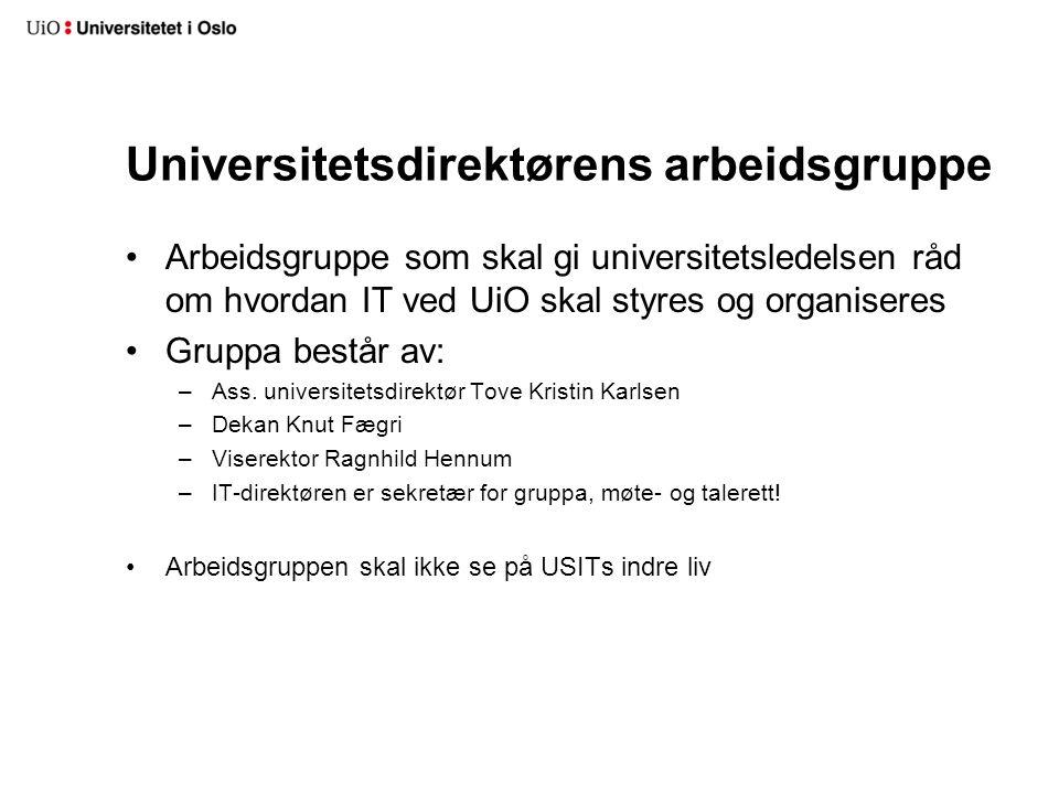 Universitetsdirektørens arbeidsgruppe Arbeidsgruppe som skal gi universitetsledelsen råd om hvordan IT ved UiO skal styres og organiseres Gruppa består av: –Ass.