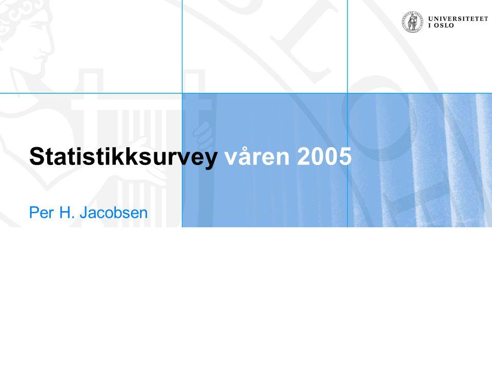 Statistikksurvey våren 2005 Per H. Jacobsen
