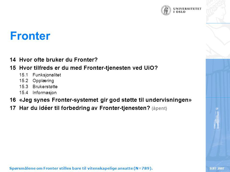 SUIT 2007 Fronter 14 Hvor ofte bruker du Fronter? 15 Hvor tilfreds er du med Fronter-tjenesten ved UiO? 15.1 Funksjonalitet 15.2 Opplæring 15.3 Bruker
