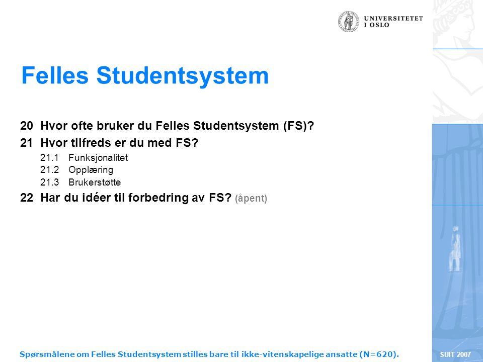 SUIT 2007 Felles Studentsystem 20 Hvor ofte bruker du Felles Studentsystem (FS)? 21 Hvor tilfreds er du med FS? 21.1 Funksjonalitet 21.2 Opplæring 21.