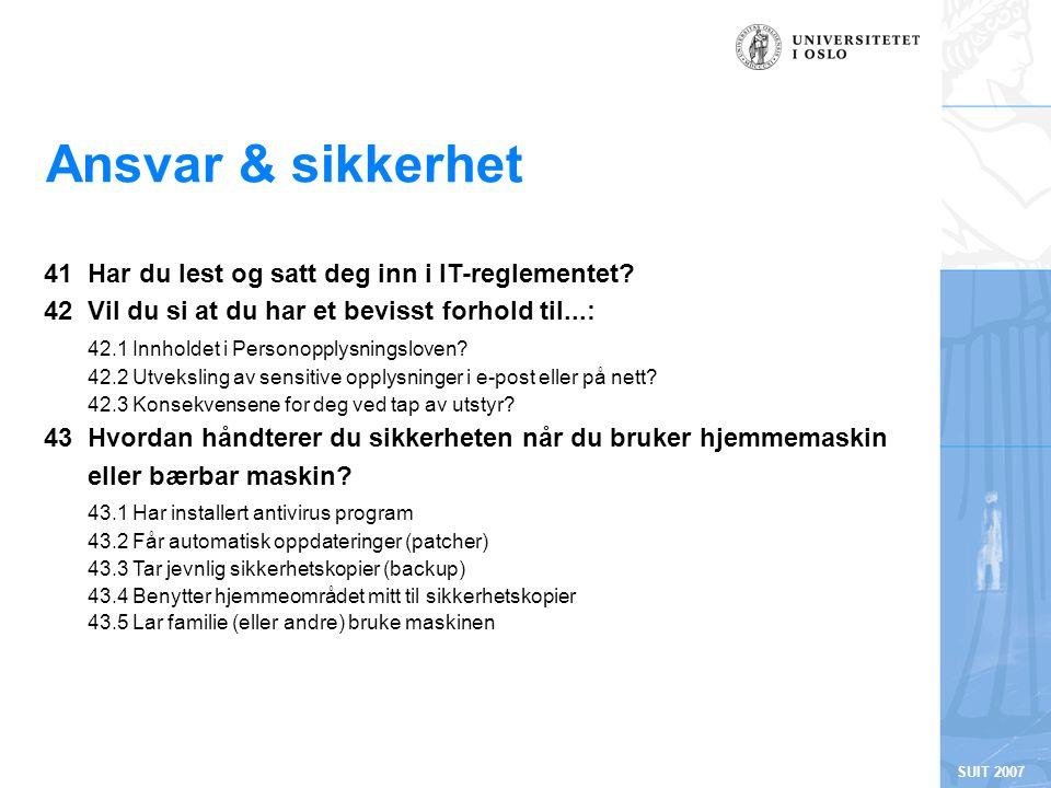 SUIT 2007 Ansvar & sikkerhet 41 Har du lest og satt deg inn i IT-reglementet.