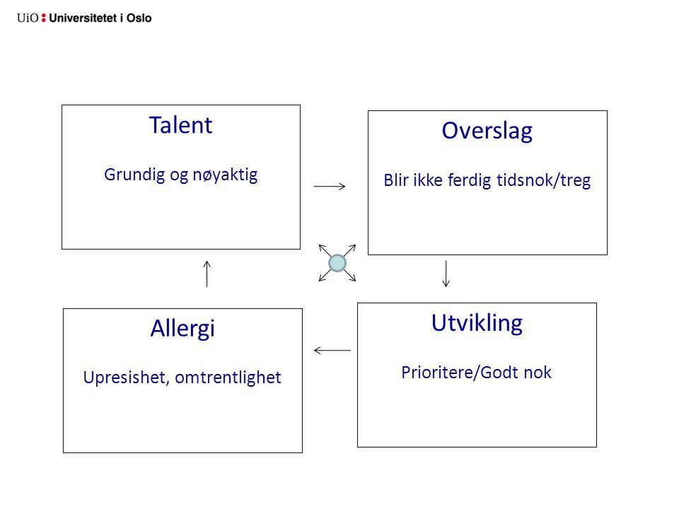 Talent Grundig og nøyaktig Overslag Blir ikke ferdig tidsnok/treg Allergi Upresishet, omtrentlighet Utvikling Prioritere/Godt nok