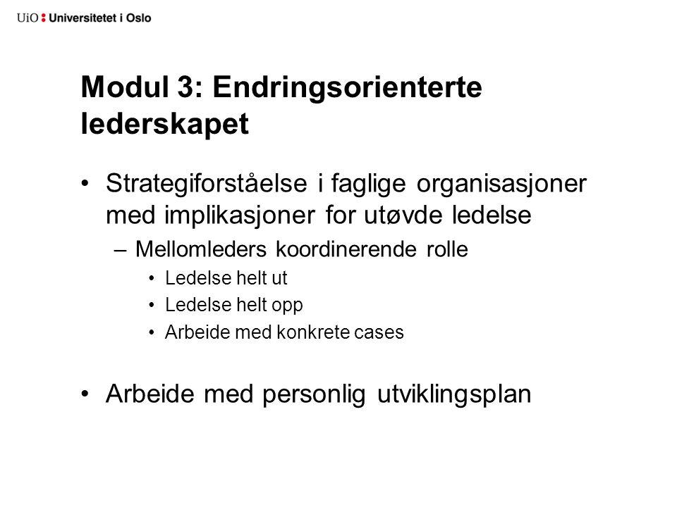 Modul 3: Endringsorienterte lederskapet Strategiforståelse i faglige organisasjoner med implikasjoner for utøvde ledelse –Mellomleders koordinerende rolle Ledelse helt ut Ledelse helt opp Arbeide med konkrete cases Arbeide med personlig utviklingsplan