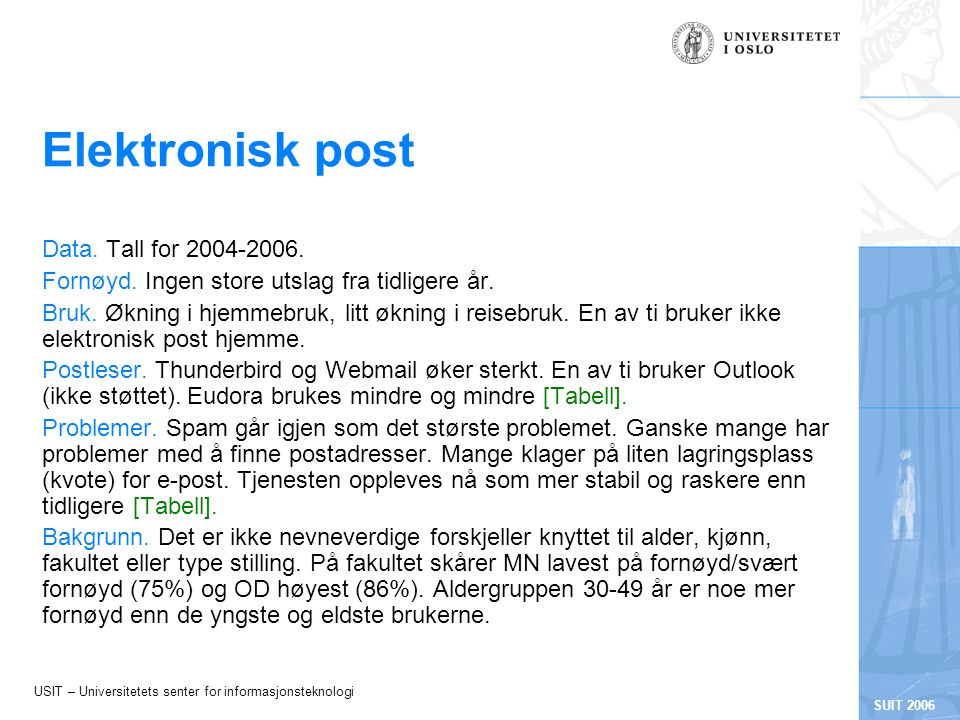 USIT – Universitetets senter for informasjonsteknologi SUIT 2006 Elektronisk post Data.