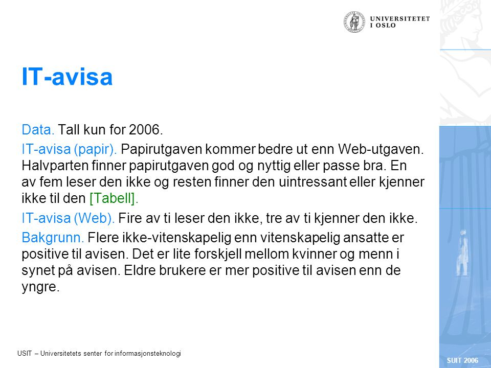 USIT – Universitetets senter for informasjonsteknologi SUIT 2006 IT-avisa Data.