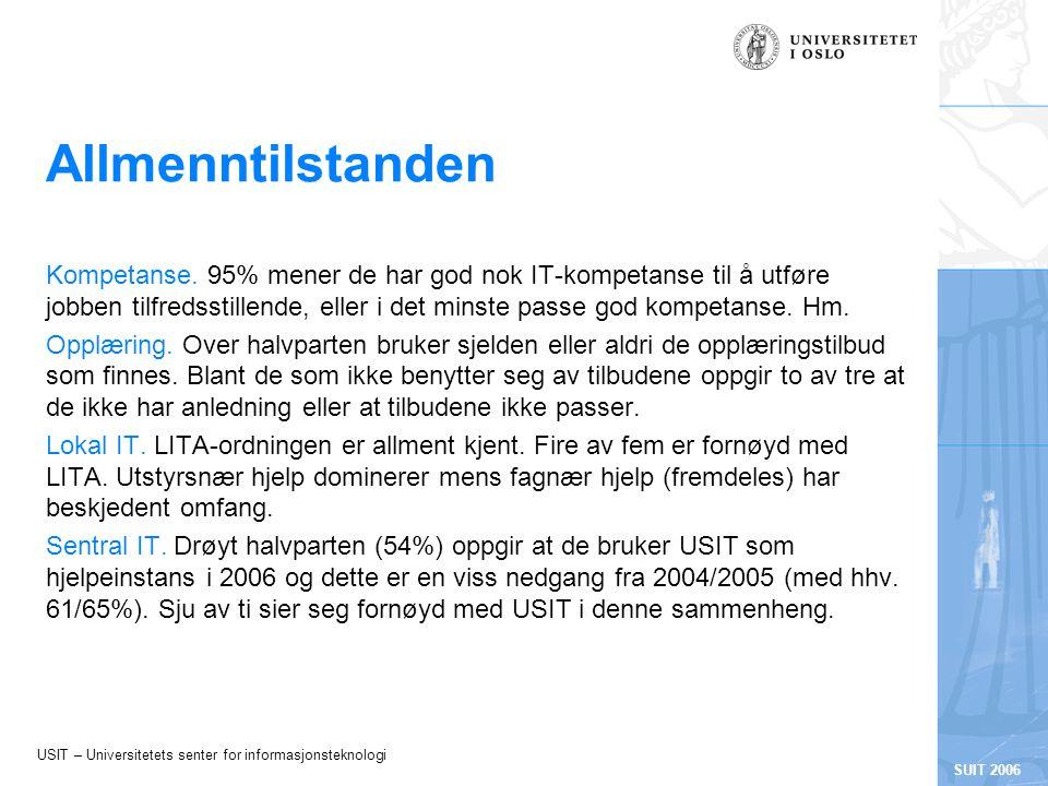 USIT – Universitetets senter for informasjonsteknologi SUIT 2006 Allmenntilstanden Kompetanse.