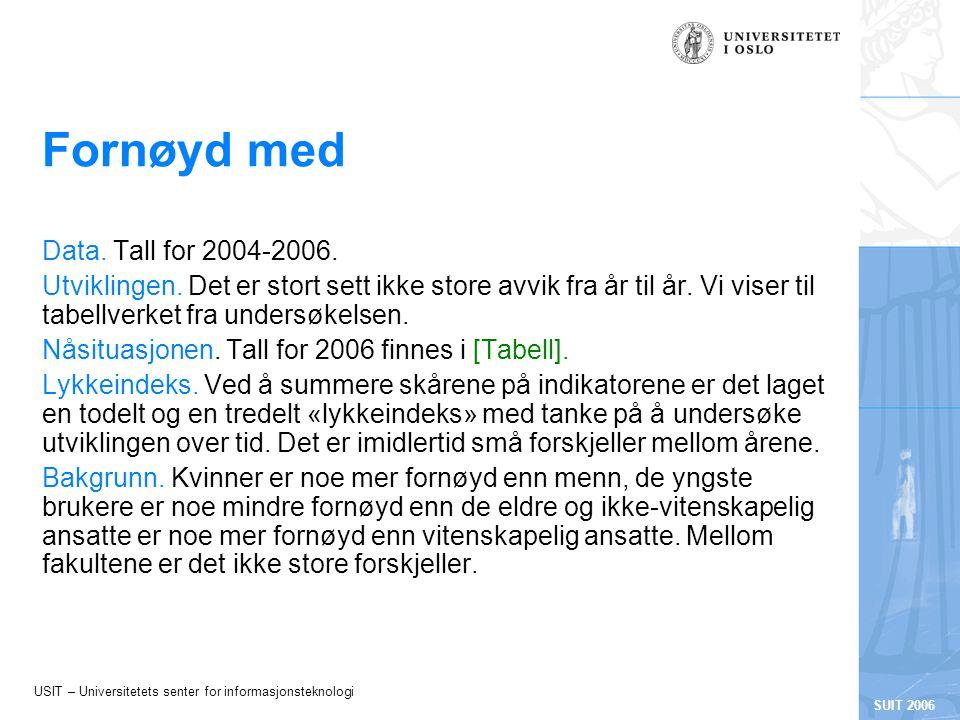 USIT – Universitetets senter for informasjonsteknologi SUIT 2006 Fornøyd med Data.