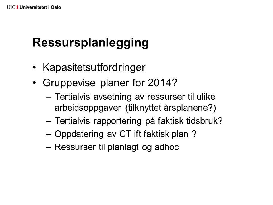 Ressursplanlegging Kapasitetsutfordringer Gruppevise planer for 2014? –Tertialvis avsetning av ressurser til ulike arbeidsoppgaver (tilknyttet årsplan
