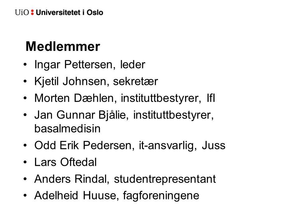 Medlemmer Ingar Pettersen, leder Kjetil Johnsen, sekretær Morten Dæhlen, instituttbestyrer, IfI Jan Gunnar Bjålie, instituttbestyrer, basalmedisin Odd