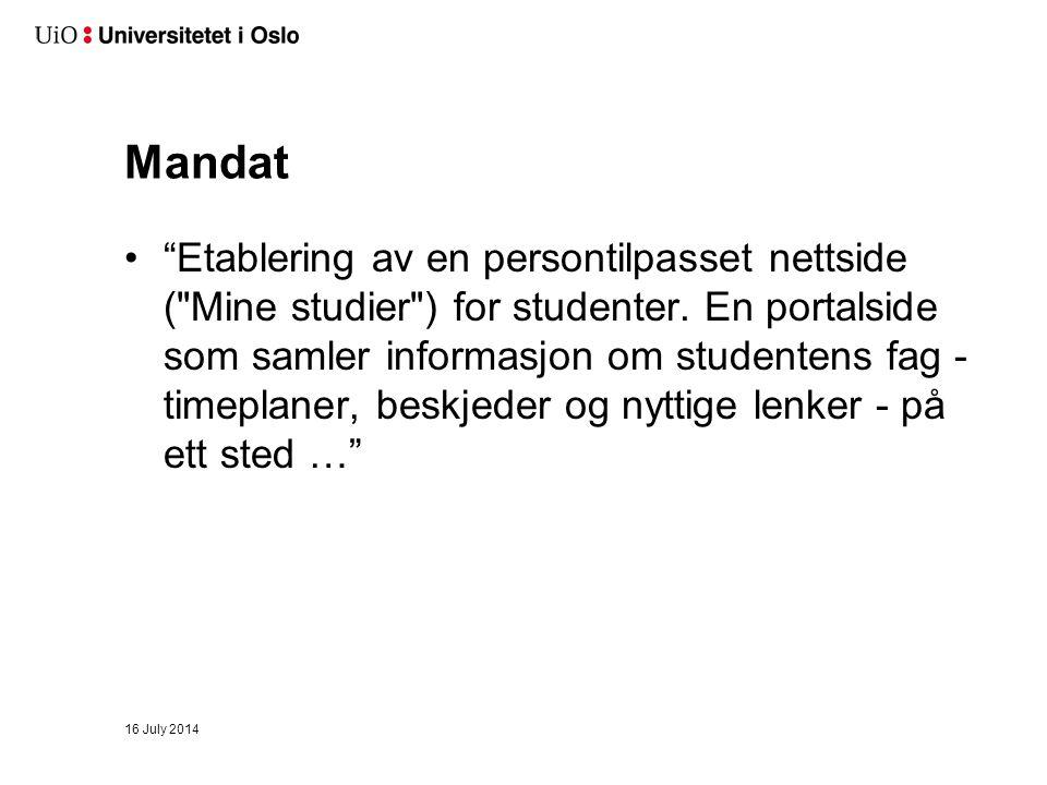 Mandat Etablering av en persontilpasset nettside ( Mine studier ) for studenter.
