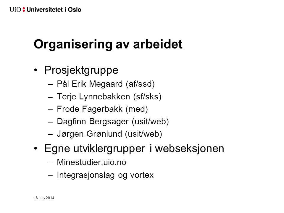 Organisering av arbeidet Prosjektgruppe –Pål Erik Megaard (af/ssd) –Terje Lynnebakken (sf/sks) –Frode Fagerbakk (med) –Dagfinn Bergsager (usit/web) –Jørgen Grønlund (usit/web) Egne utviklergrupper i webseksjonen –Minestudier.uio.no –Integrasjonslag og vortex 16 July 2014