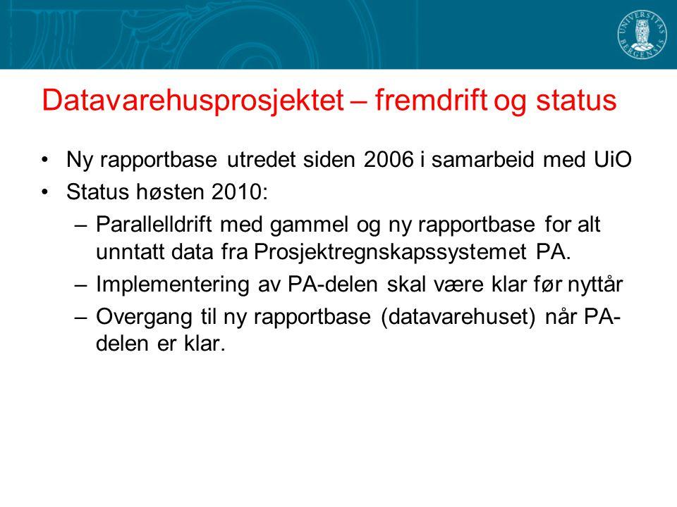 Datavarehusprosjektet – fremdrift og status Ny rapportbase utredet siden 2006 i samarbeid med UiO Status høsten 2010: –Parallelldrift med gammel og ny
