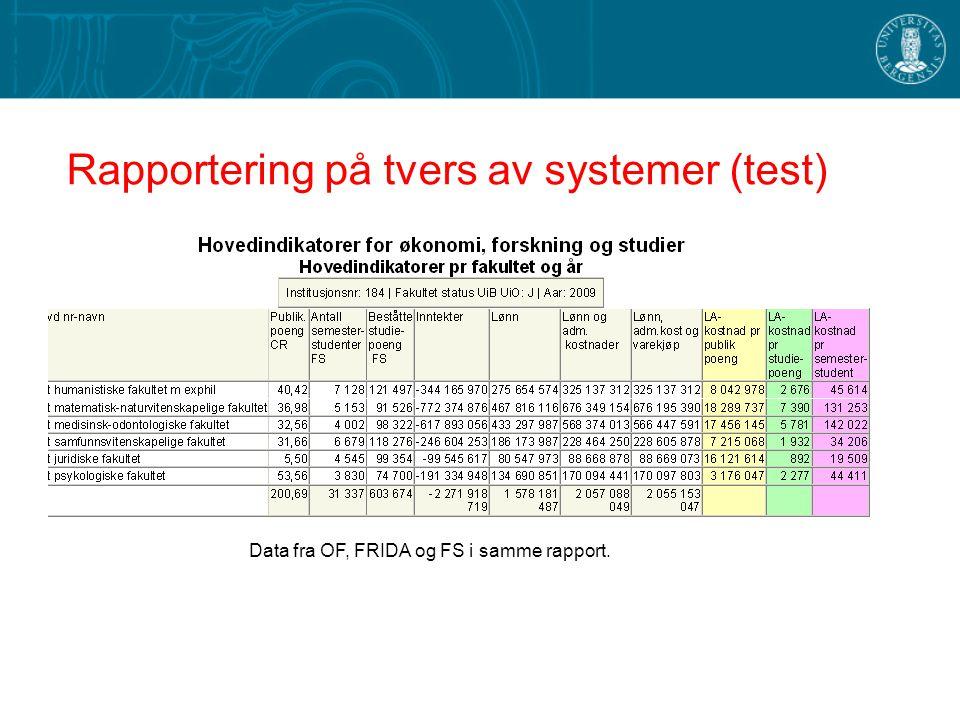 Rapportering på tvers av systemer (test) Data fra OF, FRIDA og FS i samme rapport.