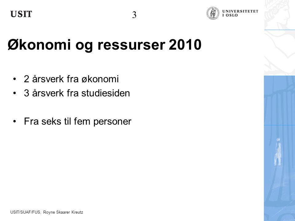 USIT/SUAF/FUS, Royne Skaarer Kreutz Økonomi og ressurser 2010 2 årsverk fra økonomi 3 årsverk fra studiesiden Fra seks til fem personer 3