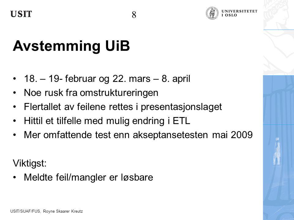 USIT/SUAF/FUS, Royne Skaarer Kreutz Avstemming UiB 18. – 19- februar og 22. mars – 8. april Noe rusk fra omstruktureringen Flertallet av feilene rette