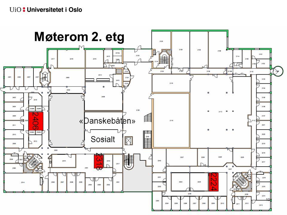 Møterom 2. etg 10 2224 2318 2406 Sosialt «Danskebåten»