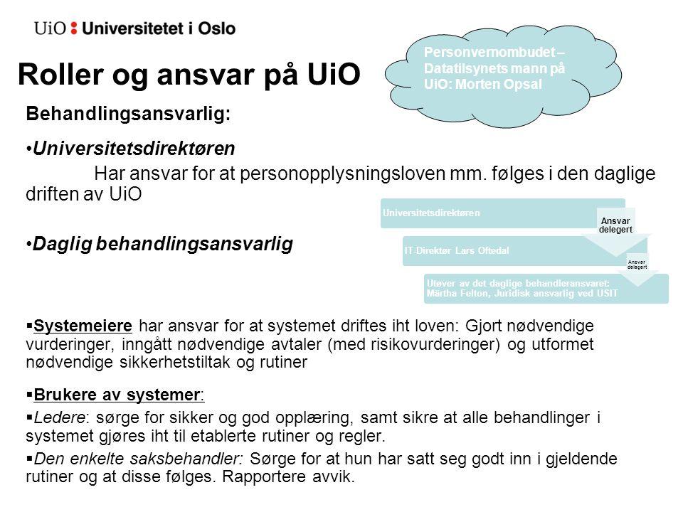 Roller og ansvar på UiO Behandlingsansvarlig: Universitetsdirektøren Har ansvar for at personopplysningsloven mm. følges i den daglige driften av UiO