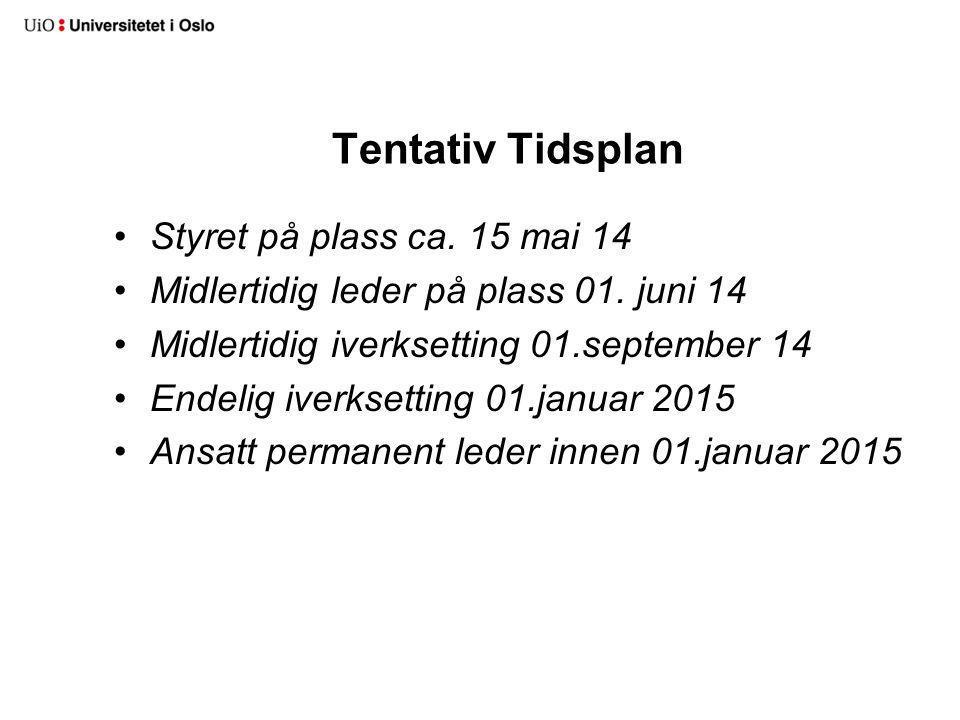 Tentativ Tidsplan Styret på plass ca. 15 mai 14 Midlertidig leder på plass 01.