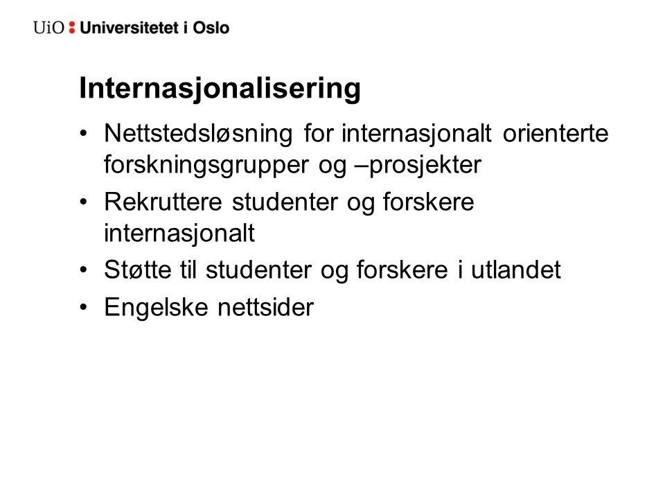 Internasjonalisering Nettstedsløsning for internasjonalt orienterte forskningsgrupper og –prosjekter Rekruttere studenter og forskere internasjonalt Støtte til studenter og forskere i utlandet Engelske nettsider