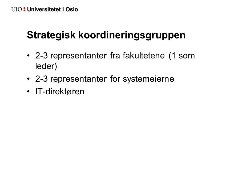 Strategisk koordineringsgruppen 2-3 representanter fra fakultetene (1 som leder) 2-3 representanter for systemeierne IT-direktøren