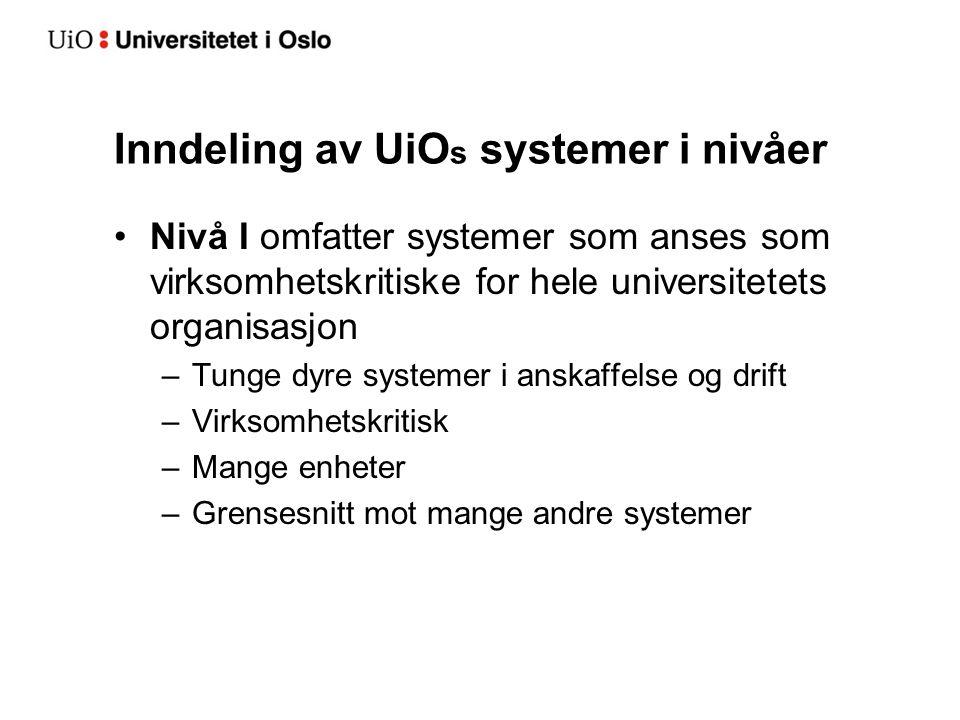 Inndeling av UiO s systemer i nivåer Nivå I omfatter systemer som anses som virksomhetskritiske for hele universitetets organisasjon –Tunge dyre systemer i anskaffelse og drift –Virksomhetskritisk –Mange enheter –Grensesnitt mot mange andre systemer