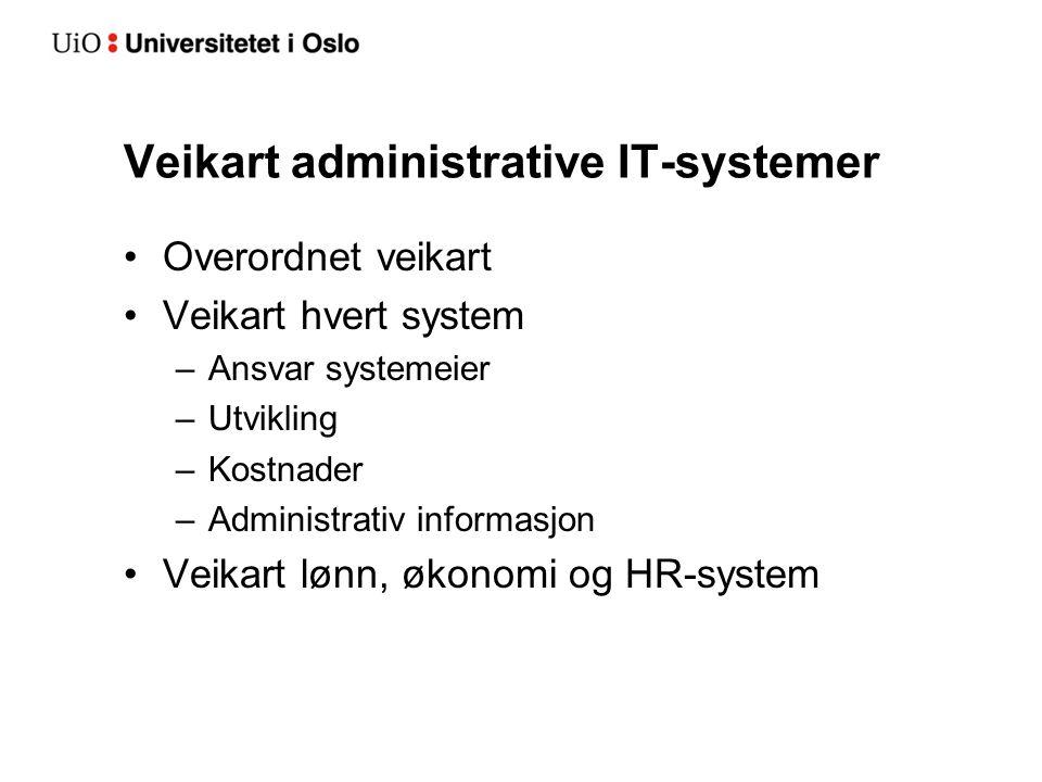 Veikart administrative IT-systemer Overordnet veikart Veikart hvert system –Ansvar systemeier –Utvikling –Kostnader –Administrativ informasjon Veikart lønn, økonomi og HR-system
