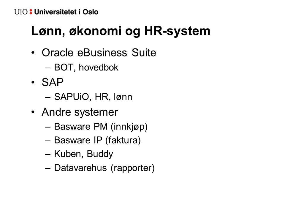 Lønn, økonomi og HR-system Oracle eBusiness Suite –BOT, hovedbok SAP –SAPUiO, HR, lønn Andre systemer –Basware PM (innkjøp) –Basware IP (faktura) –Kuben, Buddy –Datavarehus (rapporter)
