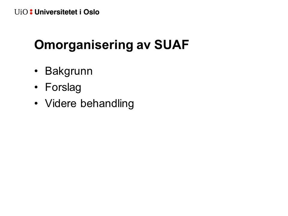 Omorganisering av SUAF Bakgrunn Forslag Videre behandling