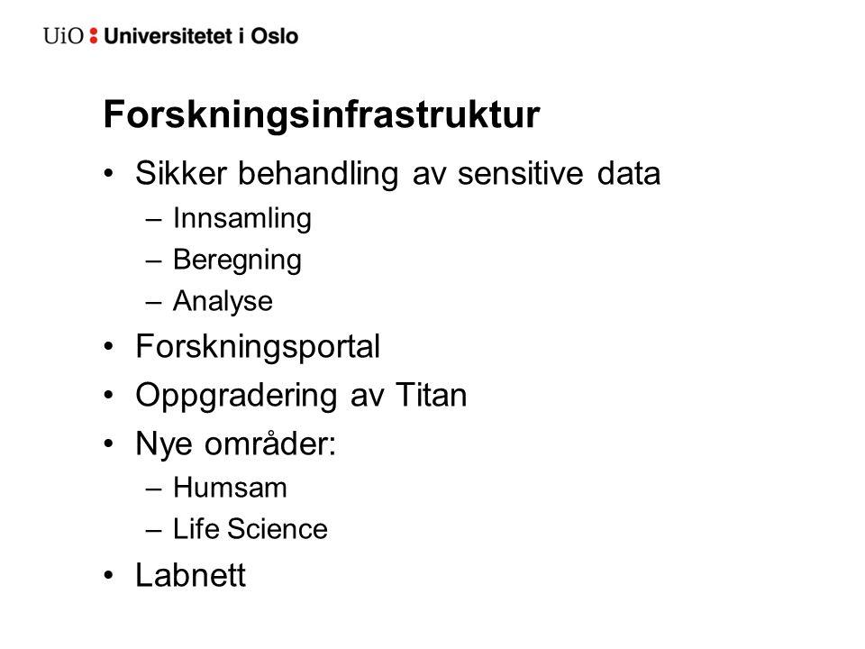 Forskningsinfrastruktur Sikker behandling av sensitive data –Innsamling –Beregning –Analyse Forskningsportal Oppgradering av Titan Nye områder: –Humsam –Life Science Labnett