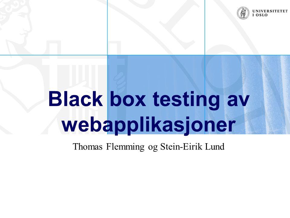 Black box testing av webapplikasjoner Thomas Flemming og Stein-Eirik Lund