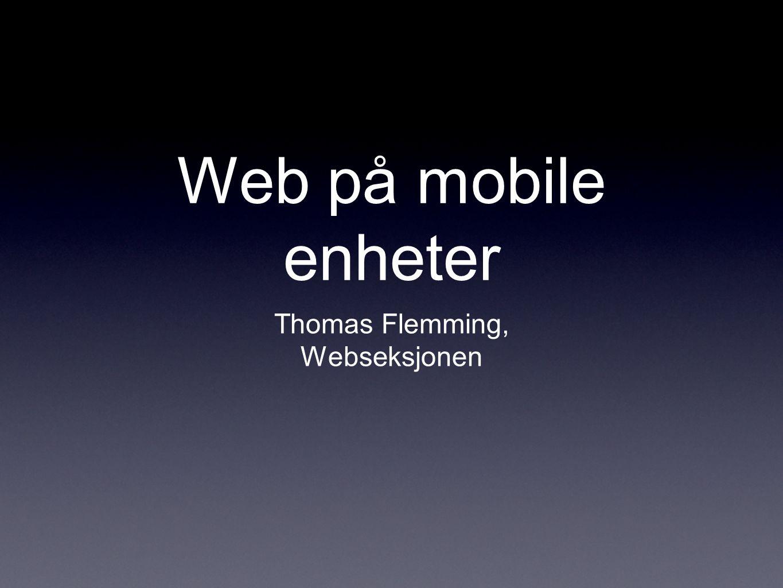 Web på mobile enheter Thomas Flemming, Webseksjonen