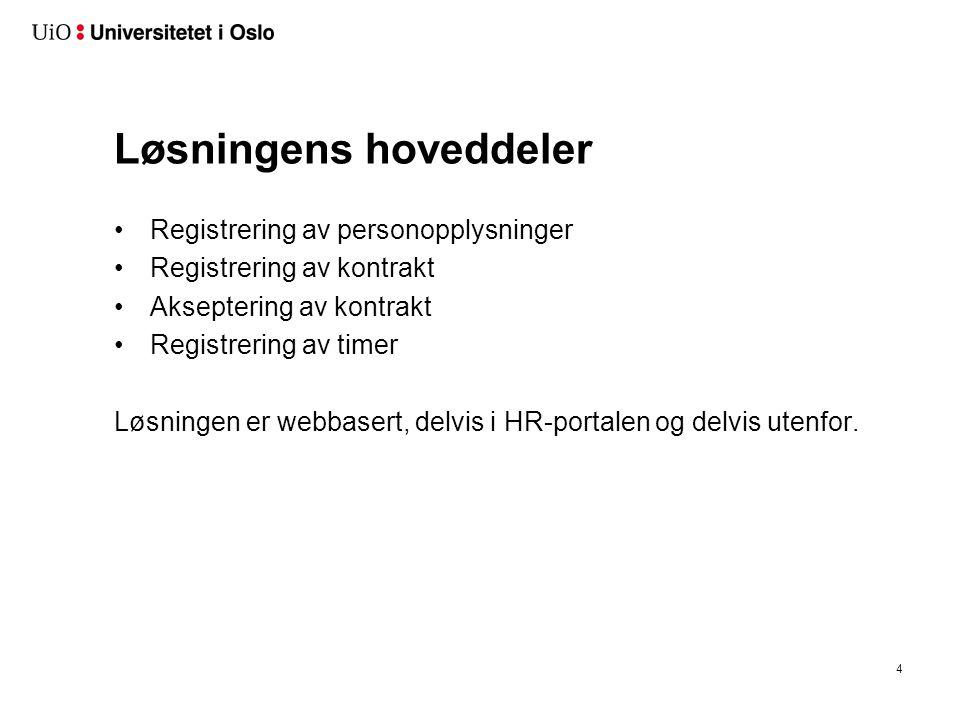 Løsningens hoveddeler Registrering av personopplysninger Registrering av kontrakt Akseptering av kontrakt Registrering av timer Løsningen er webbasert