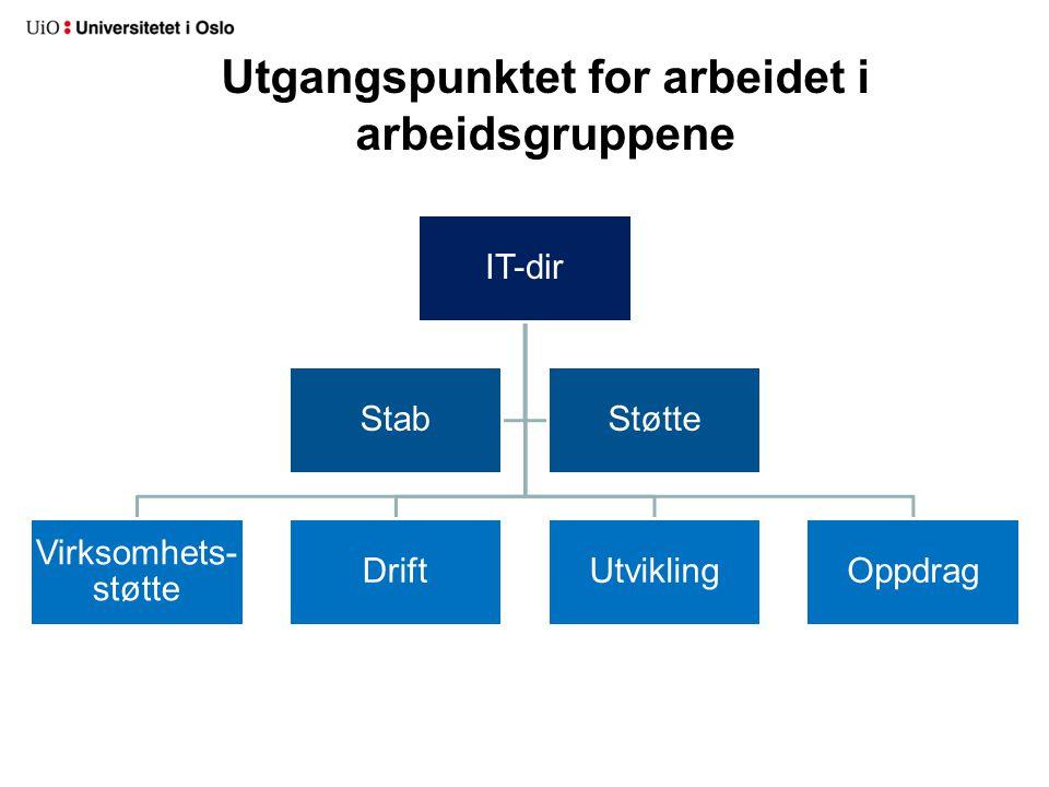 Utgangspunktet for arbeidet i arbeidsgruppene IT-dir Virksomhets- støtte DriftUtviklingOppdrag StabStøtte