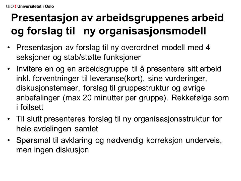 Presentasjon av arbeidsgruppenes arbeid og forslag til ny organisasjonsmodell Presentasjon av forslag til ny overordnet modell med 4 seksjoner og stab