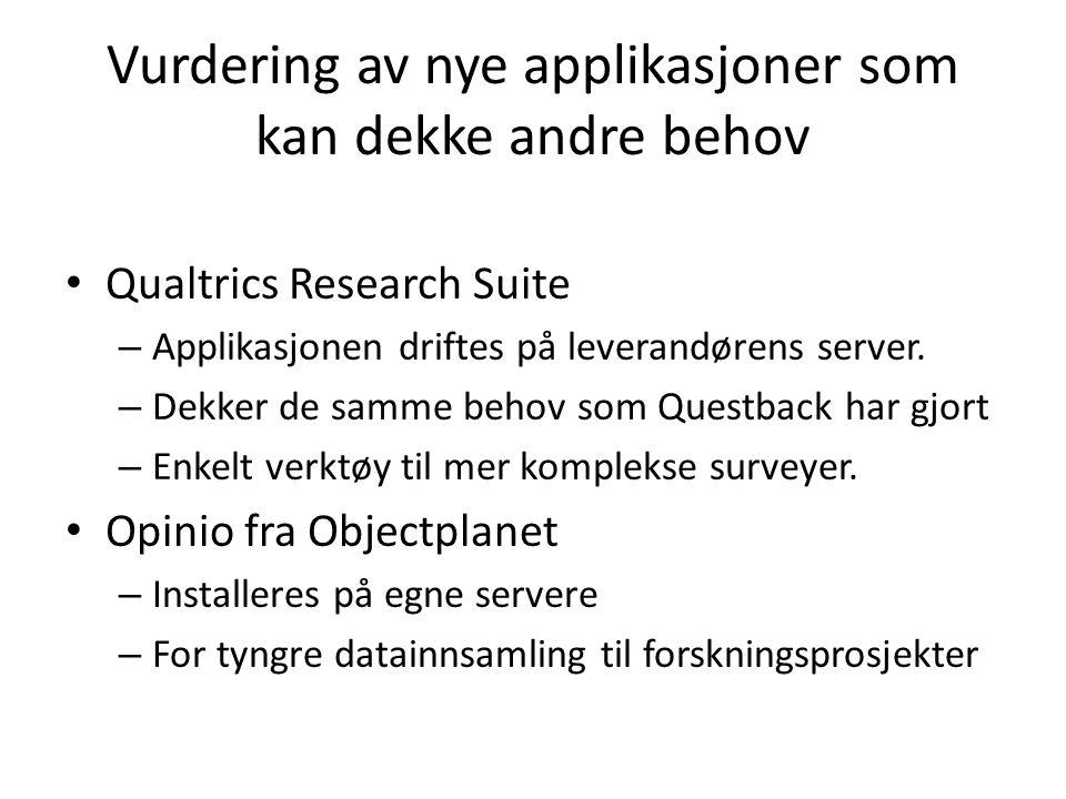 Vurdering av nye applikasjoner som kan dekke andre behov Qualtrics Research Suite – Applikasjonen driftes på leverandørens server. – Dekker de samme b