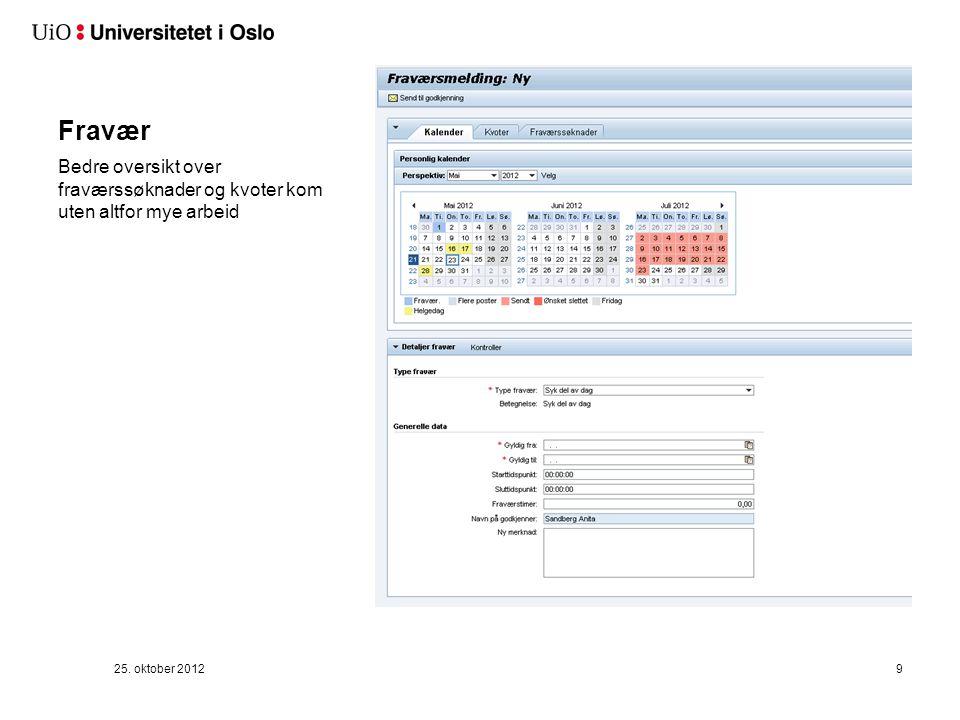 Fravær Bedre oversikt over fraværssøknader og kvoter kom uten altfor mye arbeid 25. oktober 20129