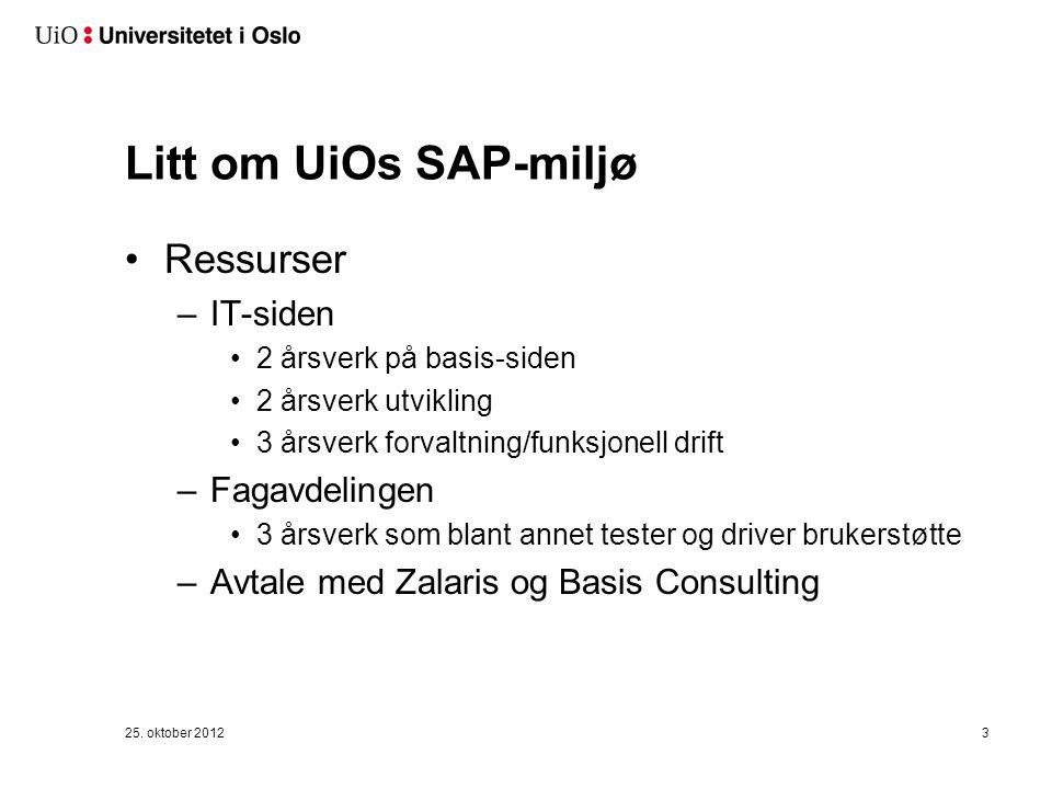 Litt om UiOs SAP-miljø forts… SAP ved UiO støtter lønnsutbetaling og noen HR-prosesser –SAP ECC 6 PA, PY, FI og OM –SAP Netweaver 7.0 Personlig data Tidregistrering Fraværsøknad Lederselvbetjening med noen rapporter 25.