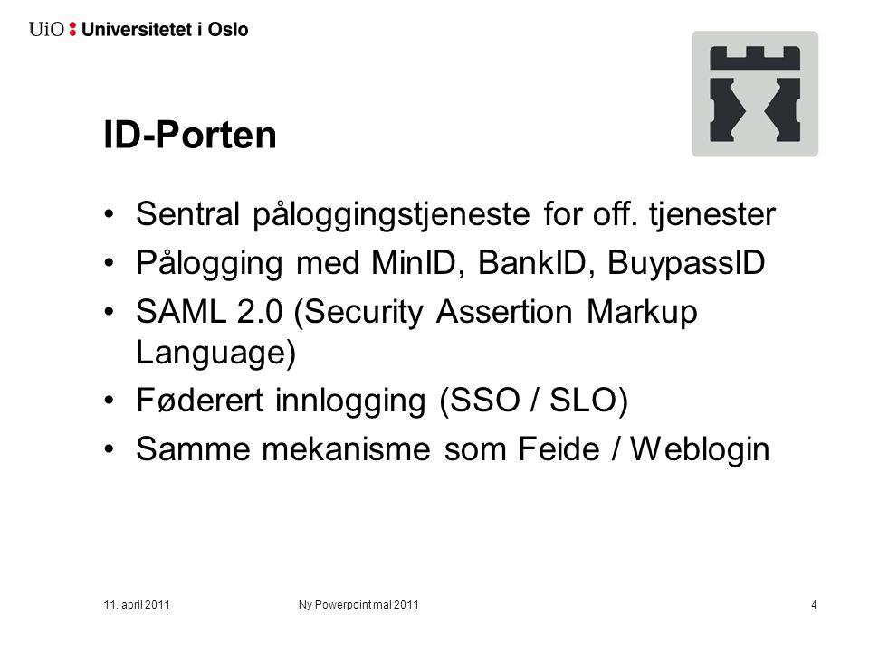 ID-Porten Sentral påloggingstjeneste for off.