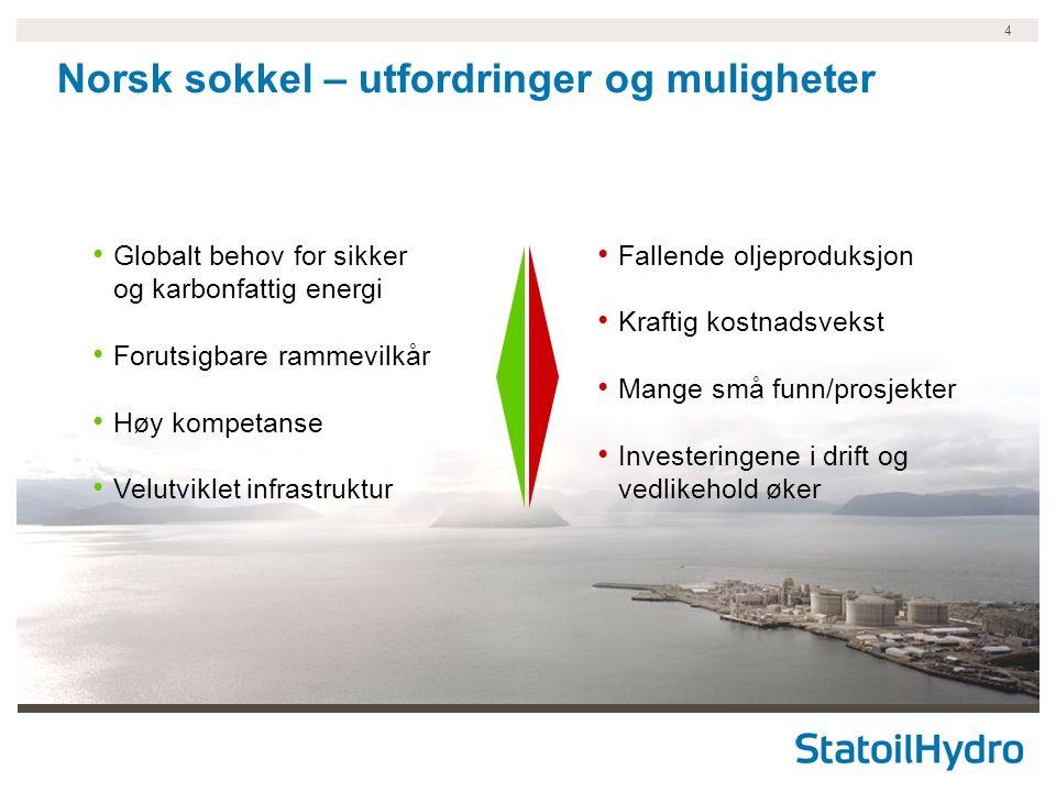 4 Norsk sokkel – utfordringer og muligheter Globalt behov for sikker og karbonfattig energi Forutsigbare rammevilkår Høy kompetanse Velutviklet infras