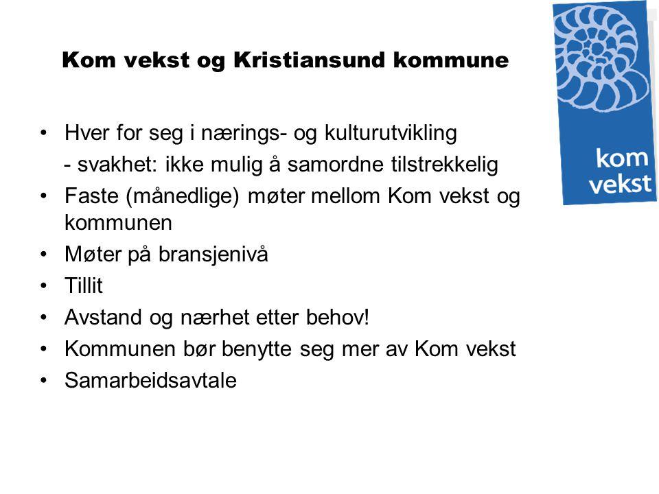 Kom vekst og Kristiansund kommune Hver for seg i nærings- og kulturutvikling - svakhet: ikke mulig å samordne tilstrekkelig Faste (månedlige) møter me